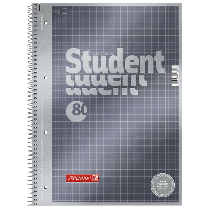 Blok kolegij A4 karo  80L perforacija+4rupe Premium Brunnen 10-67128 metalik antracit!!