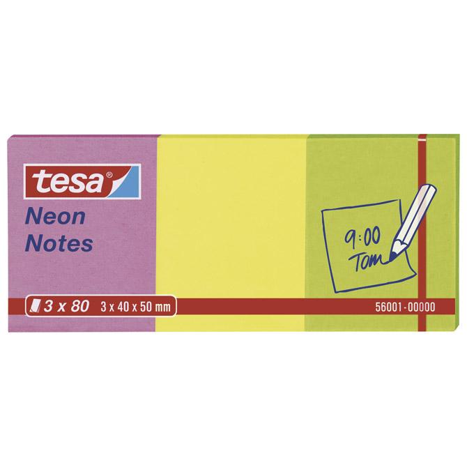 Blok samoljepljiv  40x50mm 3x80L Neon notes Tesa 56001 neon mix