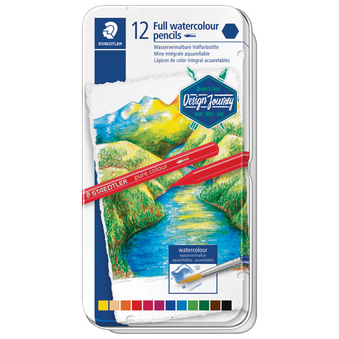 Boja vodena u olovci 12boja metalna kutija Full watercolor Design Journey Staedtler 14610G M12