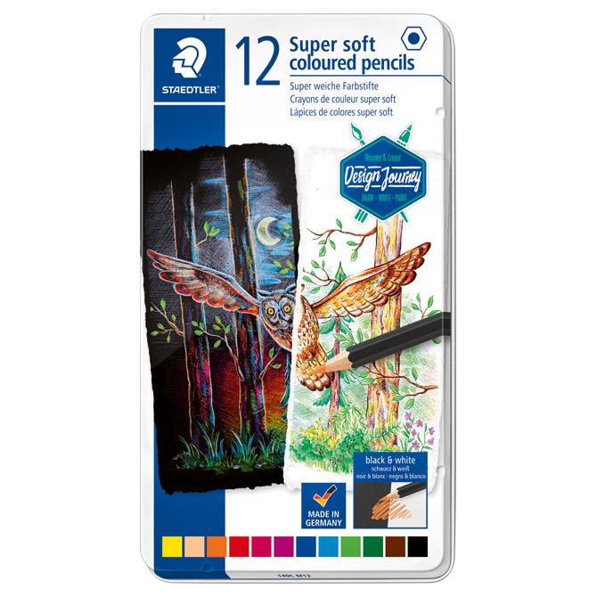 Boje drvene  12boja Super Soft Design Journey Staedtler 149C M12+GRATIS kolaž-blok A4 10 listova crni