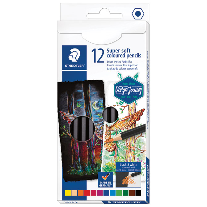 Boje drvene  12boja Super Soft black Design Journey Staedtler 149C C12 blister