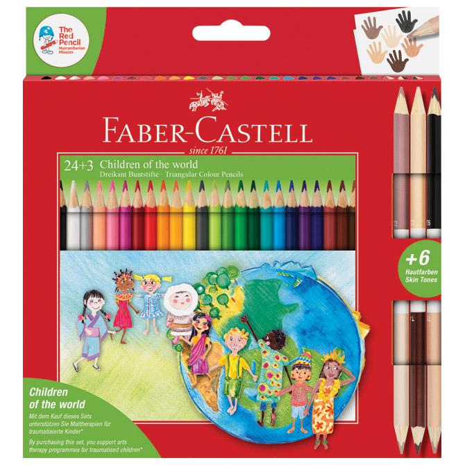 Boje drvene  24boje trokutaste+3boje drvene obostrane Faber Castell 201745 blister