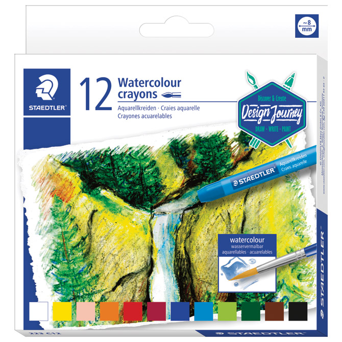 Boje voštane akvarel 12boja Design Journey Staedtler 223 C12 blister