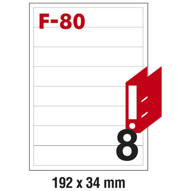Etikete ILK za registratore 192x34mm pk100L Fornax F-80