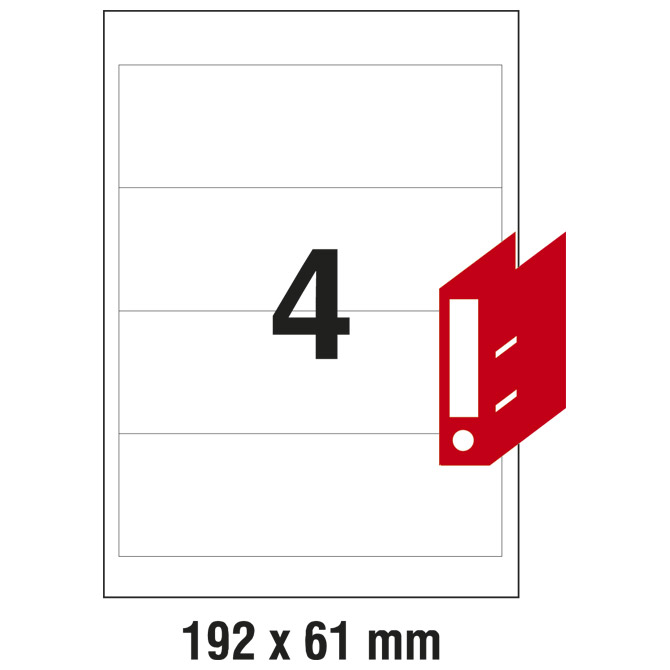 Etikete ILK za registratore 192x61mm pk100L Zweckform L4761-100 bijele