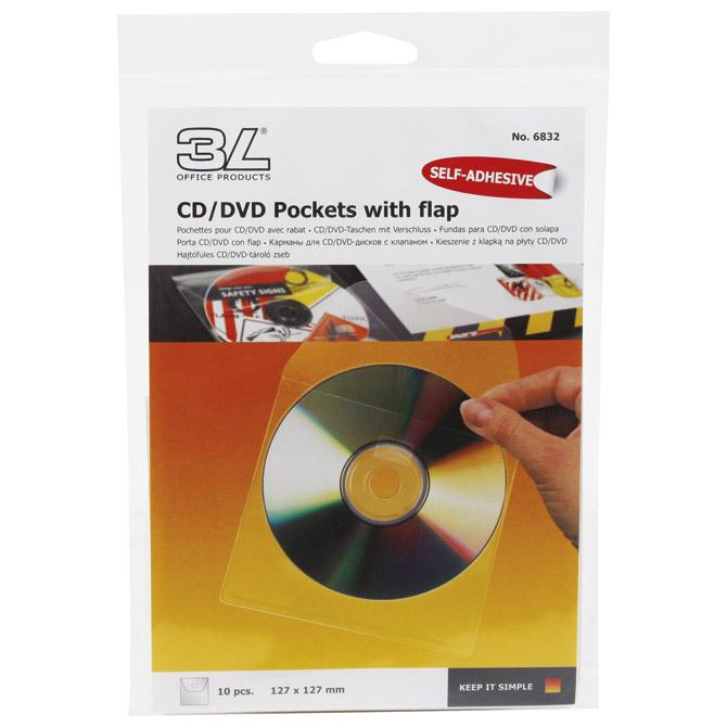 Etui za 1 CD pp samoljepljiv s klapom pk10 3L.6832-10 blister