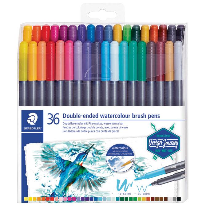 Flomaster 36boja obostrani akvarel Design Journey Staedtler 3001 TB36 blister