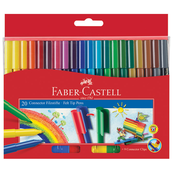 Flomaster školski  20boja Connector Faber Castell 155520 blister!!