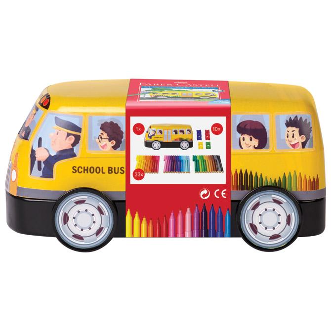 Flomaster školski  33boje u metalnoj kutiji Connector School bus Faber Castell 155532