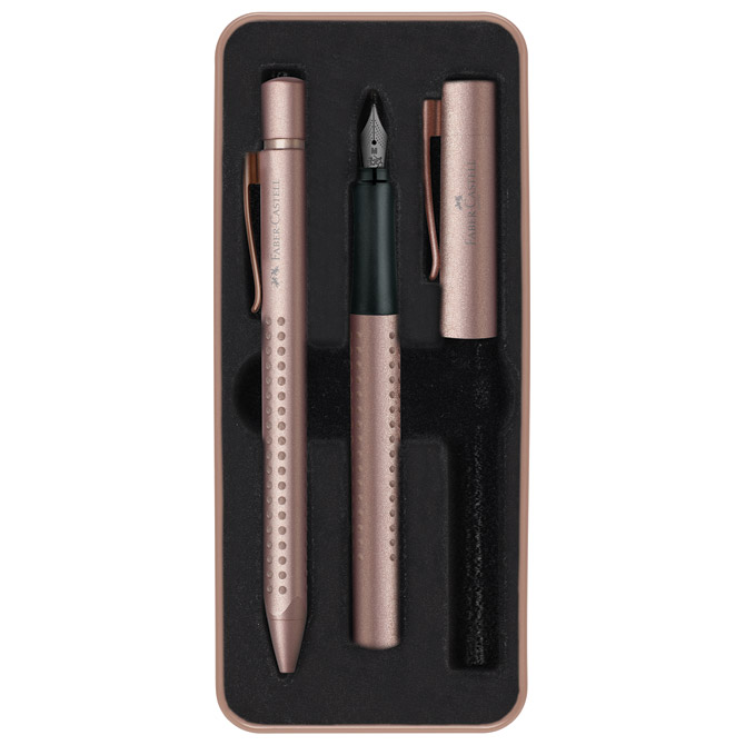 Garnitura olovka kemijska+nalivpero Grip Edition 2011 Faber Castell 201525 mat roze gold