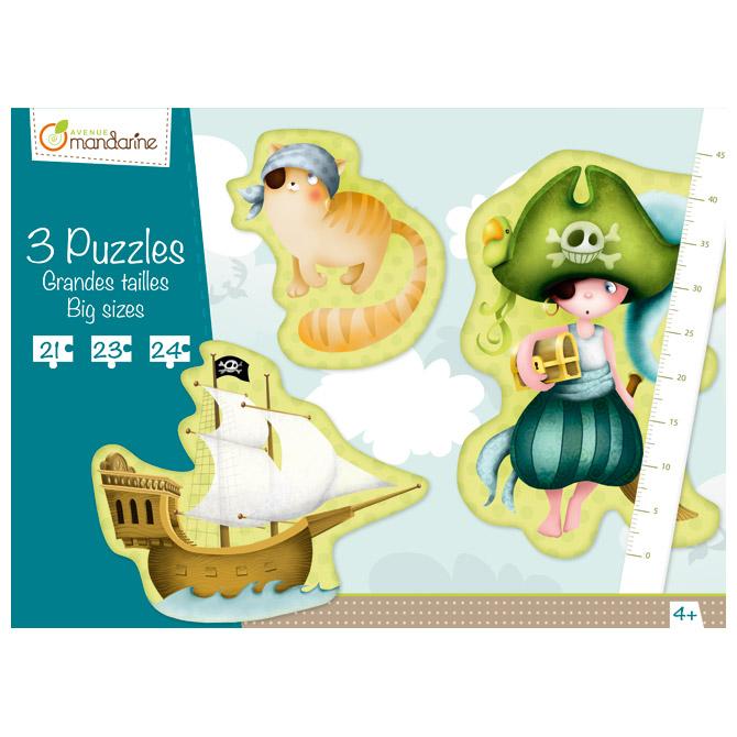 Igračka puzzle (3 motiva s posterom-pirati) Avenue Mandarine Clairefontaine 42433MD!!