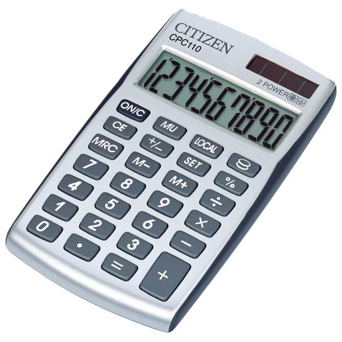 Kalkulator komercijalni 10mjesta Citizen CPC-110 srebrni blister!!