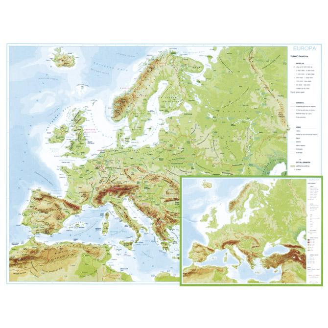 Karta Europe 56x49 plastificirana obostrana Trsat