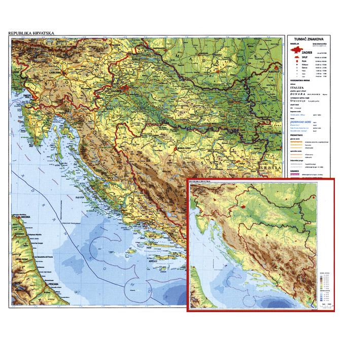 Karta Hrvatske 56x49 plastificirana obostrana Trsat