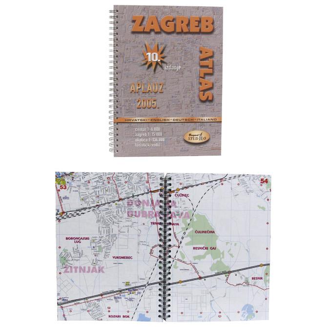 Karta grada Zagreba (kniga-spirala) Aplauz Trsat
