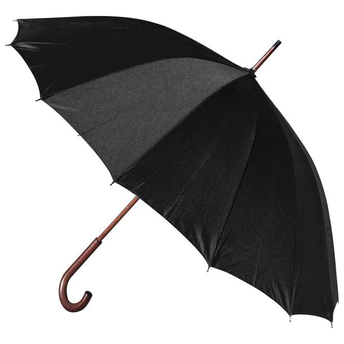 Kišobran automatik s drvenom ručkom 16panela H-1002 Stratus crni!!