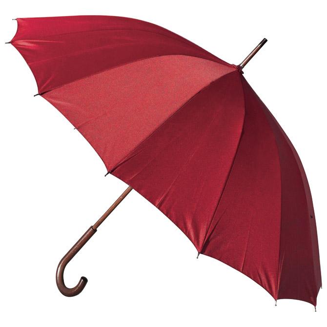 Kišobran automatik s drvenom ručkom 16panela H-1002 Stratus crveni!!