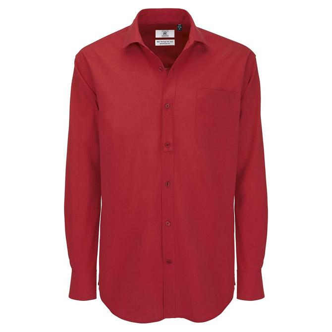 Košulja muška dugi rukavi B&C Heritage 125g tamno crvena M!!