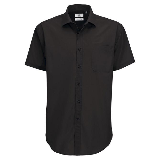 Košulja muška kratki rukavi B&C Smart 115g crna 3XL