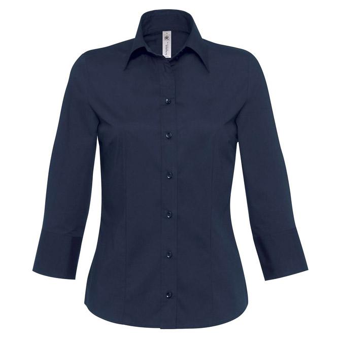 Košulja ženska 3/4 rukavi B&C Milano 135g tamno plava XS!!