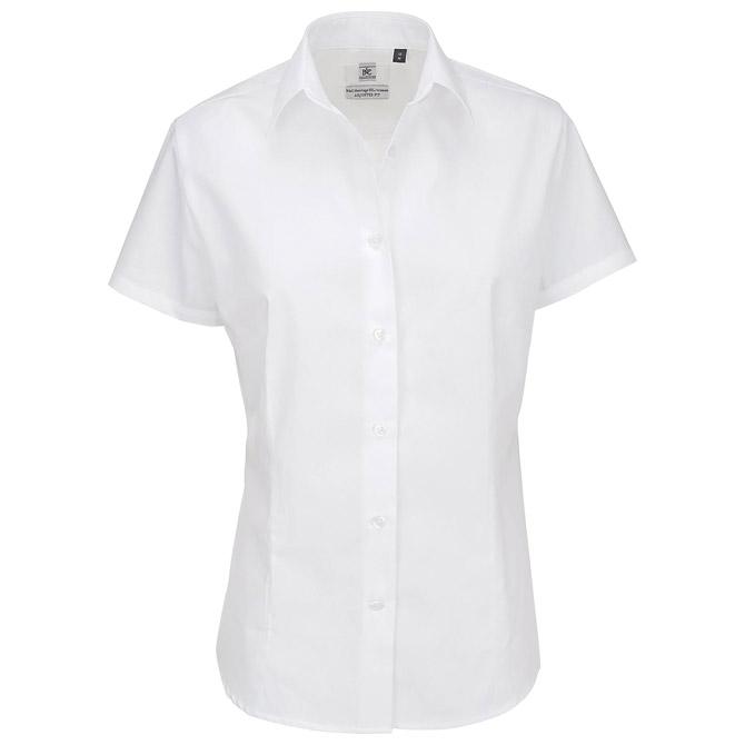 Košulja ženska kratki rukavi B&C Heritage 120g bijela M
