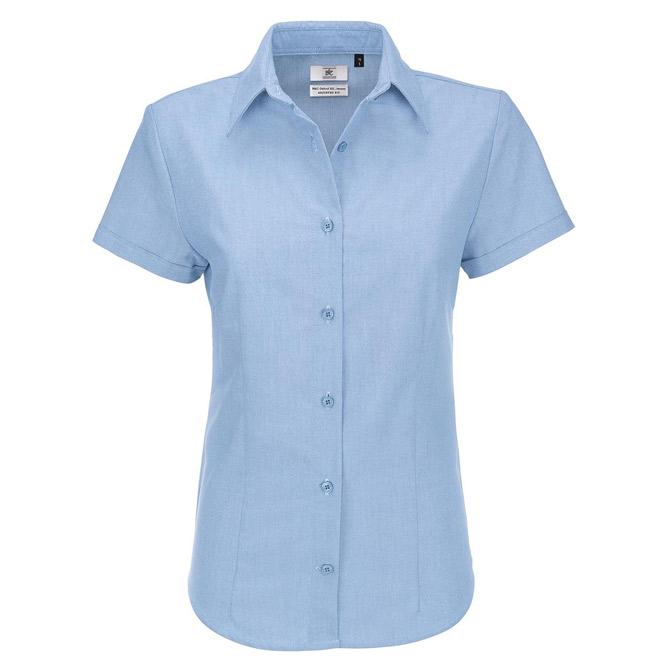 Košulja ženska kratki rukavi B&C Oxford 135g nebo plava 4XL