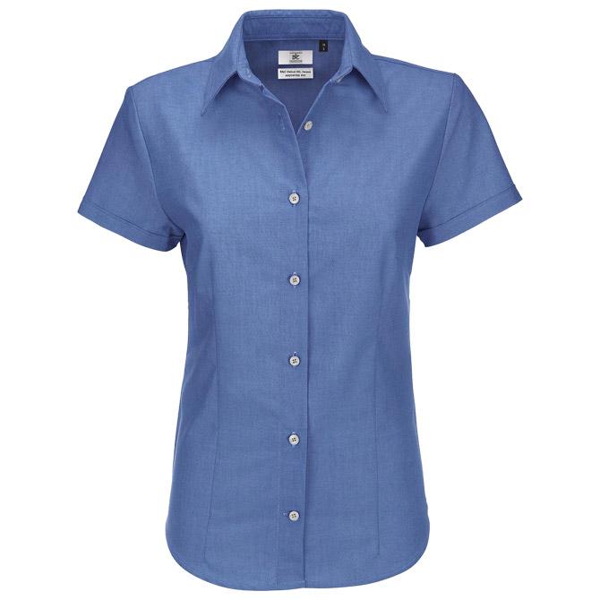 Košulja ženska kratki rukavi B&C Oxford 135g plava 2XL!!