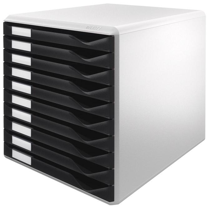 Kutija s 10 ladica Form set Leitz 52810095 sivo-crna