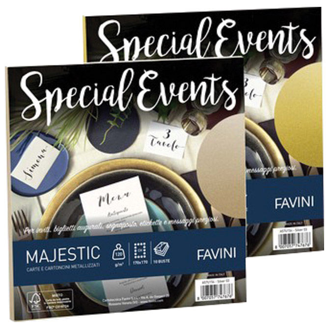 Kuverte Special Events 17x17cm 120g pk10 Favini srebrne