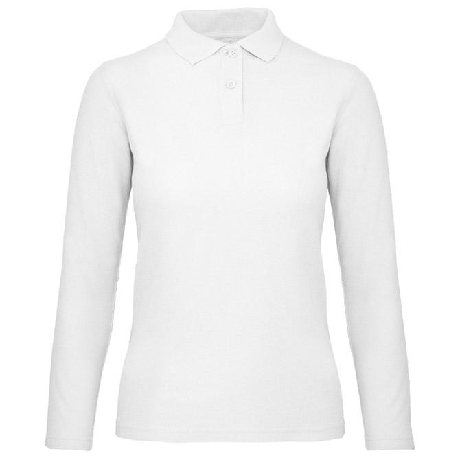 Majica dugi rukavi polo B&C ID.001 LSL/women 180g bijela XS