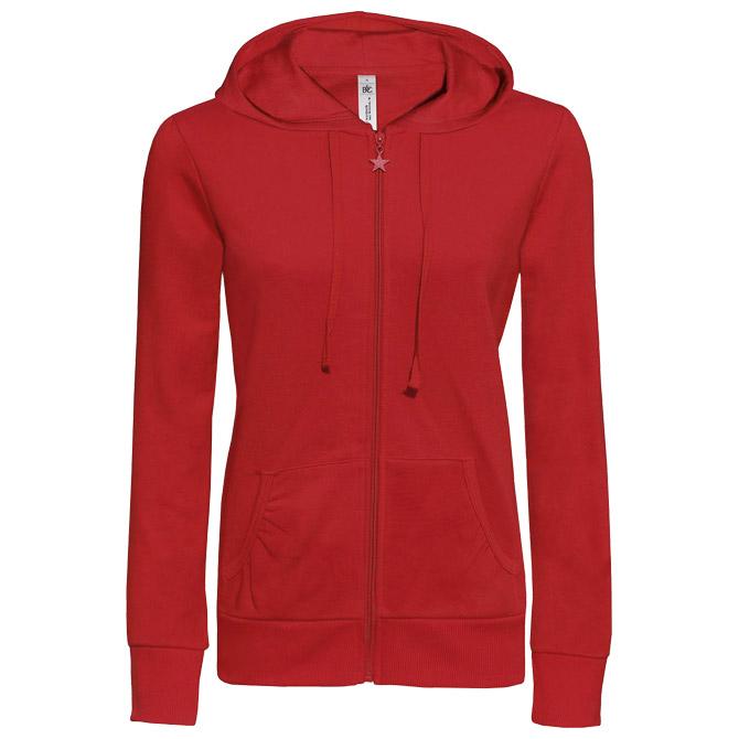 Majica dugi rukavi ženska zip B&C Wonder 280g crvena M!!