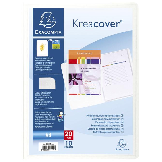 """Mapa uložna varena A4 s  10 fascikli """"U"""" + džep Kreacover Exacompta 58109E bijela"""