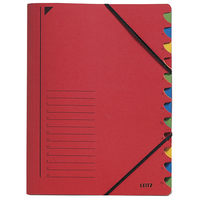 Mapa za odlaganje spisa 12 pregrada s gumicom karton Leitz 39120025 crvena!!