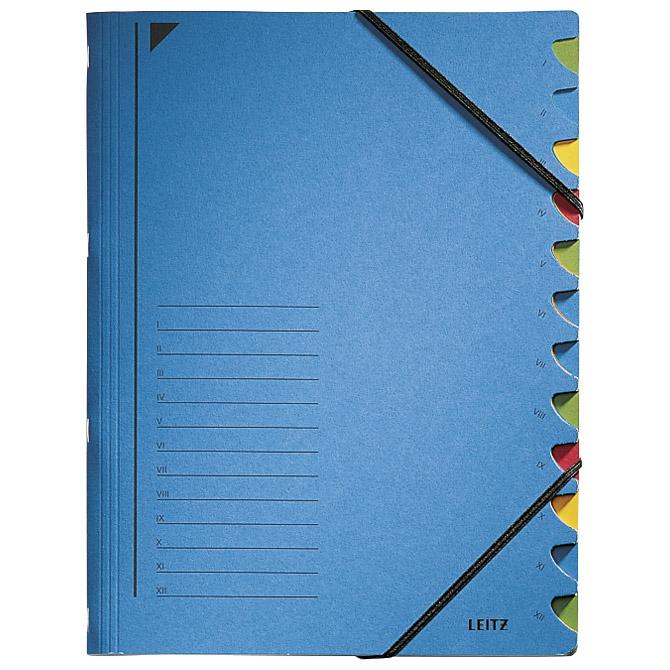 Mapa za odlaganje spisa 12 pregrada s gumicom karton Leitz 39120035 plava!!