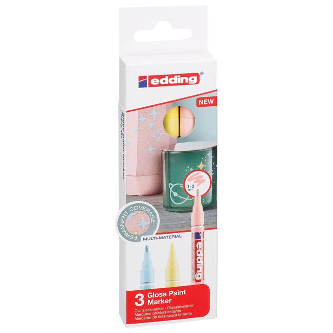 Marker permanentni sjajni lakirajući 1-2mm Edding 751/3boje pastel blister
