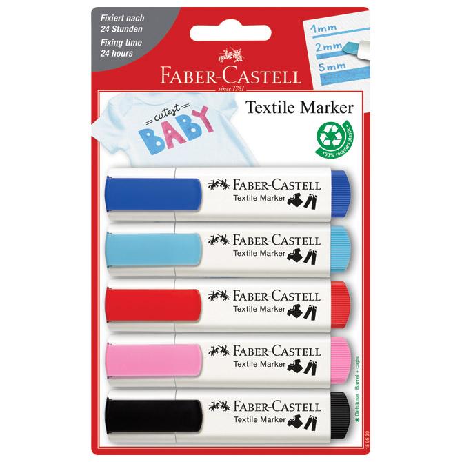 Marker za tekstil 1-5mm pk5 Faber Castell 159530 sortirano blister