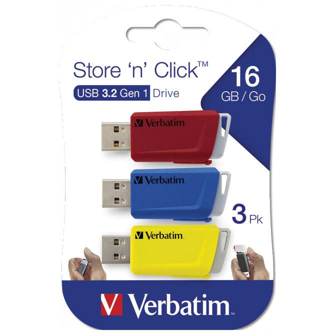 Memorija USB 3x16GB 3.0 Store'n'Click Verbatim 49306 crveni/plavi/žuti blister
