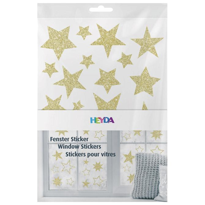Naljepnice ukrasne za staklo A4 Zvijezde pk3 Heyda 20-35844 69 glitter zlatne blister