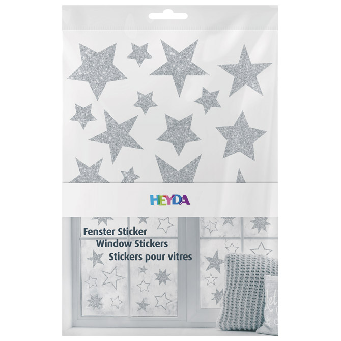 Naljepnice ukrasne za staklo A4 Zvijezde pk3 Heyda 20-35844 70 glitter srebrne blister