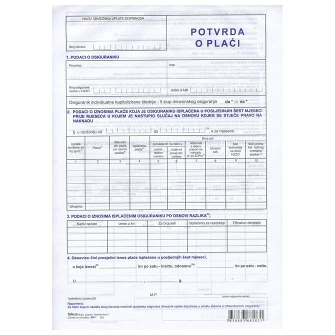Obrazac ER-1 potvrda o plaći Fokus