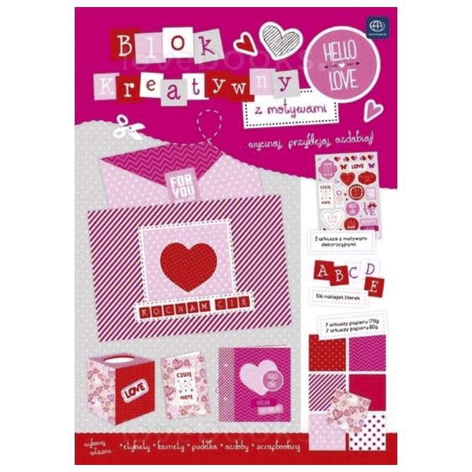 Papir dekorativni u bloku A4 Walentynki Interdruk!!