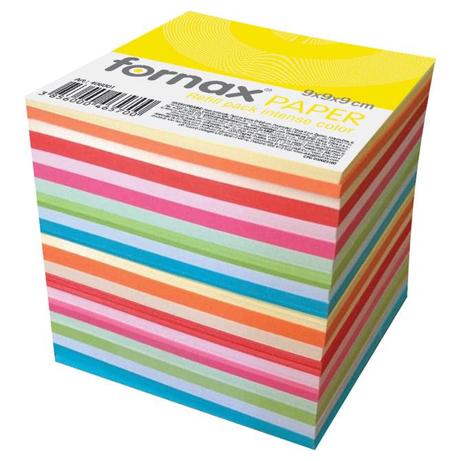 Papir za kocku 9x9x9cm ljepljeni Fornax intenzivne i pastelne boje sortirano