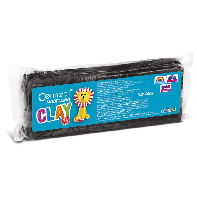 Plastelin 550g + plastični nožić Connect crni