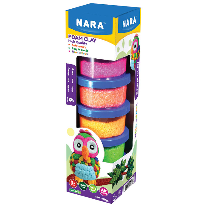 Plastelin pjenasti 6 neon boja x 20g (total 120g) Nara FO-120-6N