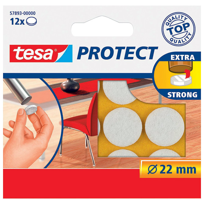 Podložak filc okrugli 22mm pk12 Tesa 57893-0 bijeli