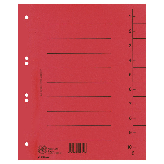Pregrada kartonska A4 250g Donau 8610001-04 crvena