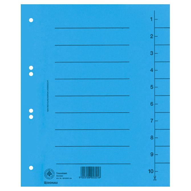 Pregrada kartonska A4 250g Donau 8610001-10 plava