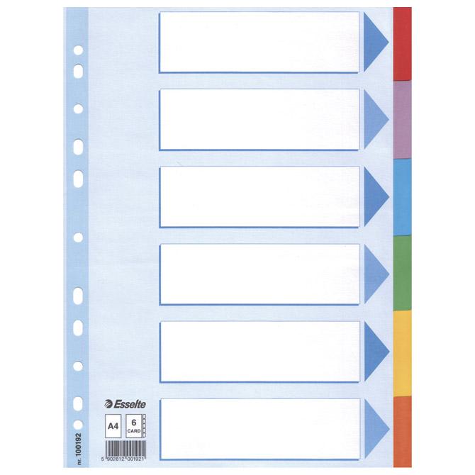 Pregrada kartonska A4 kolor  6listova Esselte 100192