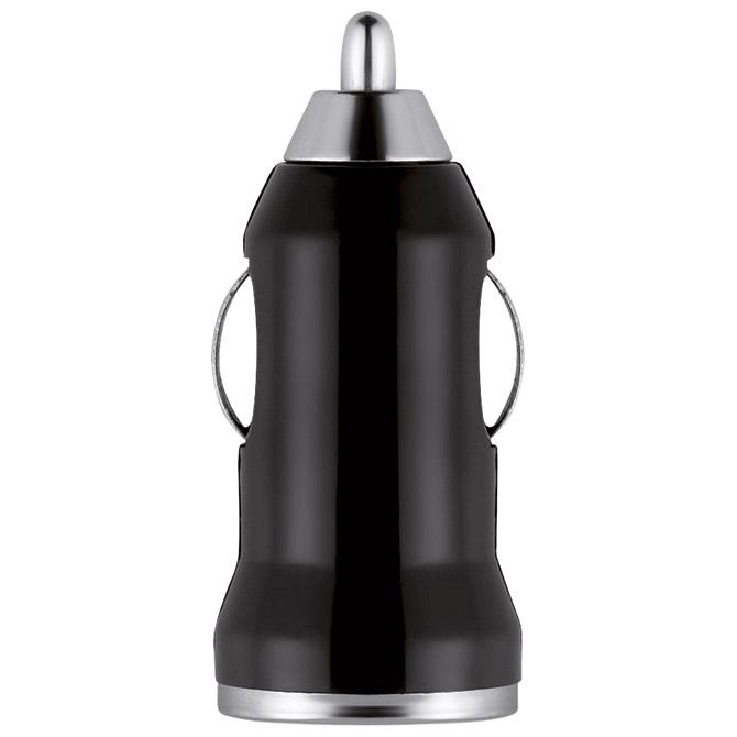 Punjač za auto aluminijski/ABS crni