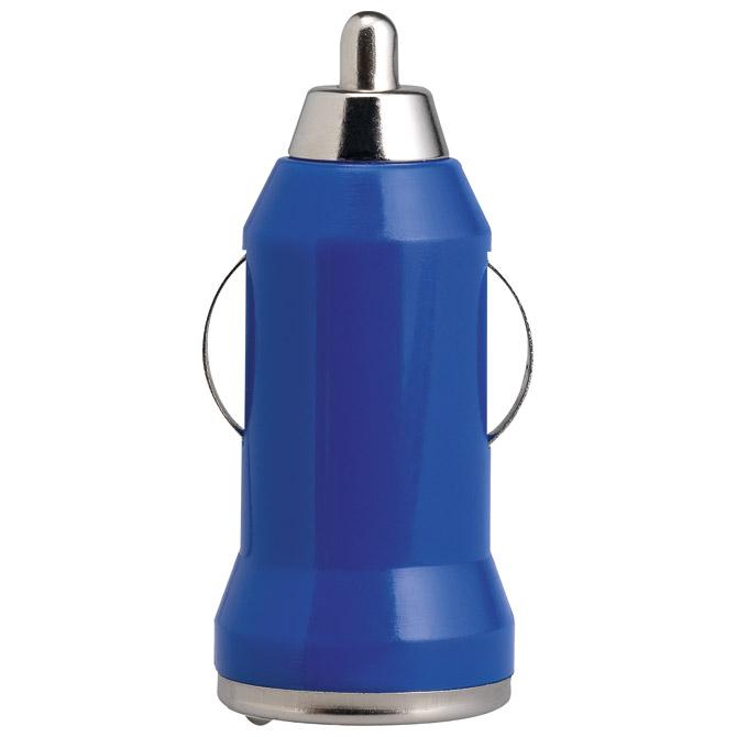 Punjač za auto aluminijski/ABS plavi
